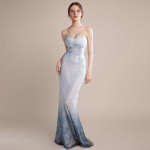 Sexy Sky Blue Gradient-Color Navy Blue Evening Dresses  2018 Trumpet / Mermaid Sleeveless Spaghetti Straps Beading Backless Lace Up Bow Floor-Length / Long Ruffle Formal Dresses