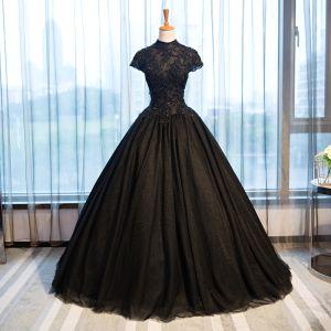 Chic / Belle Noir Robe De Soirée 2017 Robe Boule En Dentelle Fleur Cristal Perlage Col Haut Dos Nu Manches Courtes Longue Robe De Ceremonie