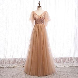 Charmant Champagner Abendkleider 2020 A Linie V-Ausschnitt Perlenstickerei Pailletten Kurze Ärmel Rückenfreies Lange Festliche Kleider