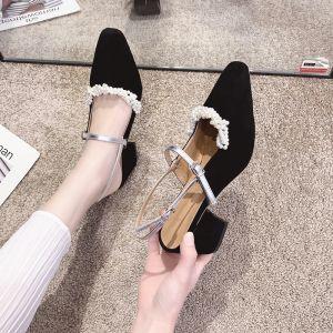 Elegant Svart Oppnevning Perle Hælrem Sandaler Dame 2020 Suede 6 cm Tykk Hæler Firkantetå Sandaler