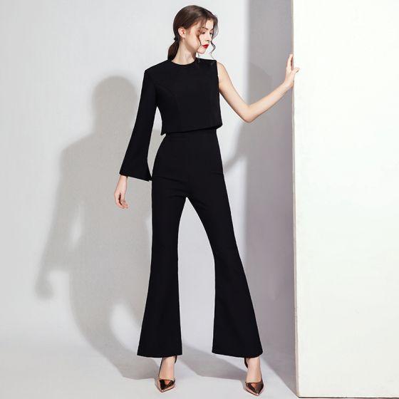 Fashion Black Jumpsuit Evening Dresses  2021 Scoop Neck Backless Formal Dresses