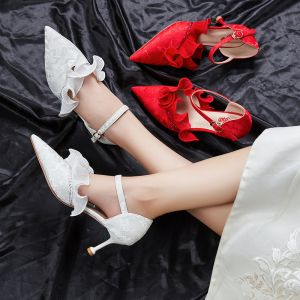 Chic / Beautiful Ivory Wedding Shoes 2020 Lace Ankle Strap Rhinestone 7 cm Stiletto Heels Pointed Toe Wedding High Heels