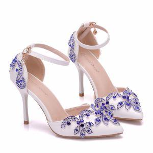 Chic / Beautiful White Wedding Shoes 2018 Rhinestone Ankle Strap 9 cm Stiletto Heels Pointed Toe Wedding High Heels