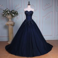 Elegant Navy Blue Prom Dresses 2019 A-Line / Princess Sweetheart Beading Sequins Rhinestone Lace Flower Sleeveless Backless Chapel Train Formal Dresses
