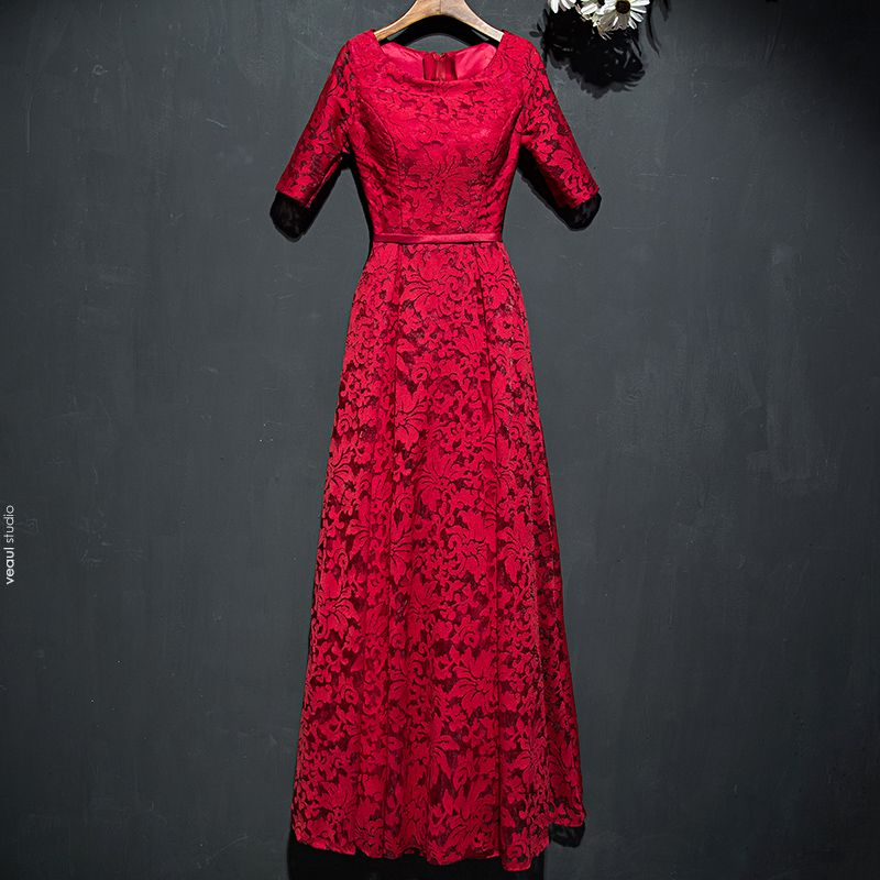 Chic / Beautiful Red Formal Dresses 2017 Lace Flower Scoop Neck 1/2 Sleeves Ankle Length A-Line / Princess Evening Dresses
