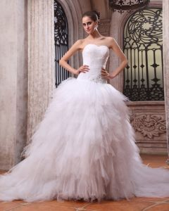 Tulle Beading Floral Arrangements Cathedral Train Ball Gown Wedding Dresses