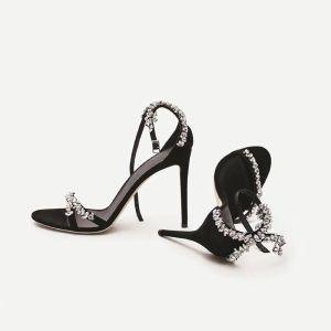 Charmant Zwarte Avond Rhinestone Sandalen Dames 2020 Leer Enkelband 10 cm Naaldhakken / Stiletto Peep Toe Sandalen