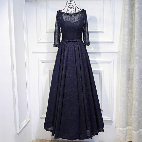 Piękne Granatowe Sukienki Wizytowe 2017 Z Koronki Kwiat Cekiny Kokarda Wycięciem 3/4 Rękawy Długość Kostki Princessa Sukienki Wieczorowe