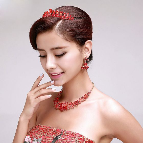 Rhinestone Bridal Jewellery Tiara / earrings / necklace three-piece