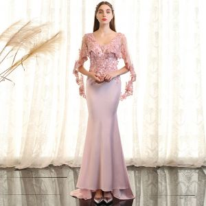 Luxury / Gorgeous Blushing Pink Evening Dresses  2017 Trumpet / Mermaid Lace Crystal Pearl Sequins V-Neck Backless 1/2 Sleeves Sweep Train Formal Dresses