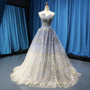 Moderne / Mode Bleu Ciel Dégradé De Couleur Gris Robe De Bal 2019 Princesse Bustier Sans Manches Glitter Tulle Train De Balayage Volants Dos Nu Robe De Ceremonie