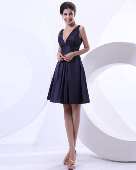 A Line Taffeta Ruffle V Neck Knee Length Evening Party Dresses