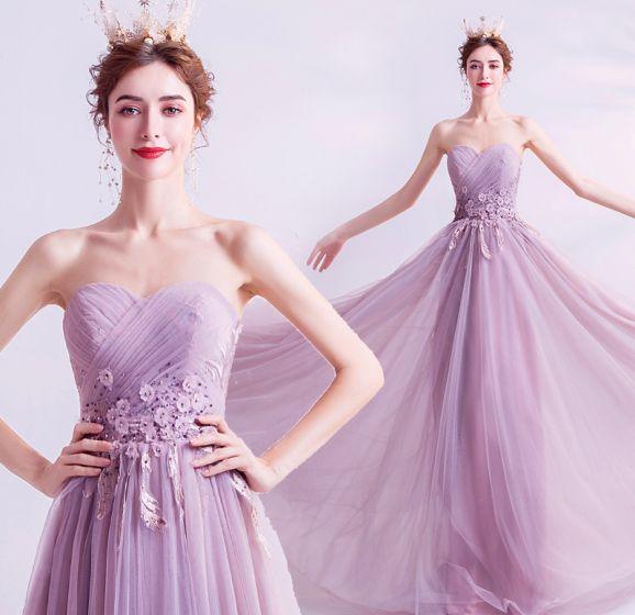 Charmant Lilas Robe De Soirée 2020 Princesse Bustier Perlage Paillettes Cristal Appliques En Dentelle Fleur Sans Manches Dos Nu Longue Robe De Ceremonie