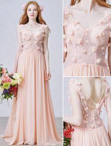 A-linje Genomborrat Handgjorda Spetsar Blommor Backless Pärla Rosa Chiffong Aftonklänning