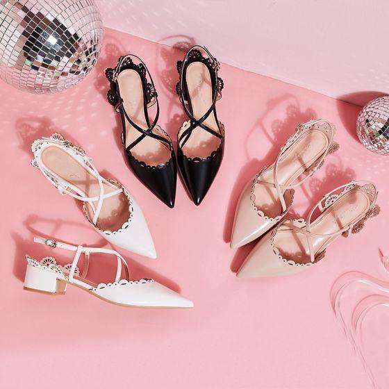Schöne Ivory / Creme Datierung Sandalen Damen 2019 Knöchelriemen X-Riemen 4 cm Low Heel Spitzschuh Thick Heels Sandaletten