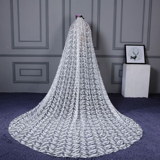 Chic / Beautiful White Cathedral Train Wedding Veils Tulle Appliques Feather Wedding 2018