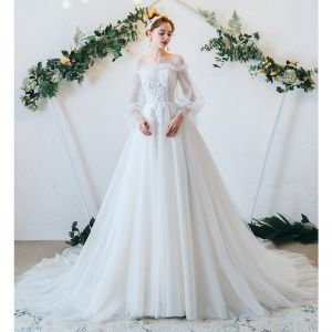 Classy Ivory Wedding Dresses 2020 A-Line / Princess Scoop Neck Pearl Lace Flower Long Sleeve Court Train