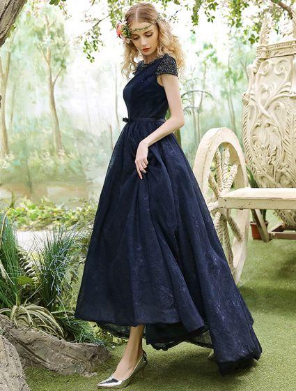 Elegant Evening Dresses 2017 Beading Scoop Neckline Navy Blue Asymmetrical Lace Dress
