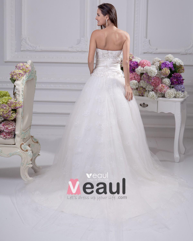 Sash Satin Court Empire Bridal Gown Wedding Dress
