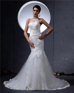 Satin Lace Round Neck Chapel Mermaid Bridal Gown Wedding Dress