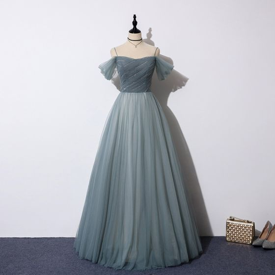 Chic / Beautiful Ink Blue Prom Dresses 2019 A-Line / Princess Spaghetti Straps Short Sleeve Beading Sequins Floor-Length / Long Ruffle Backless Formal Dresses