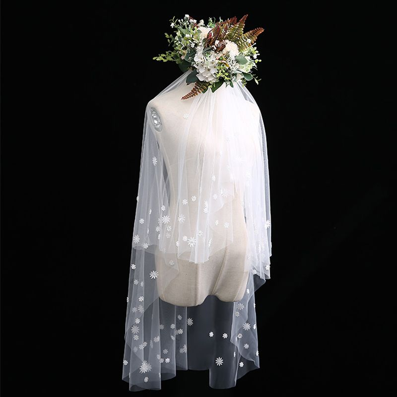 Romantic Lovely Ivory Short Wedding Veils Flower Lace Chiffon Wedding Accessories 2019
