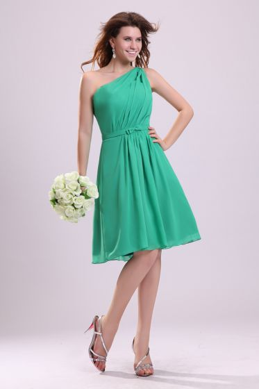 2015 Sightly A-line Knee-length Green Bridesmaid Dresses