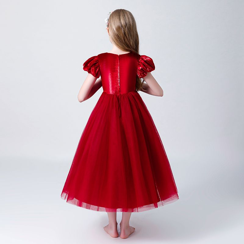Chic / Beautiful Burgundy Suede Flower Girl Dresses 2019 A-Line / Princess Scoop Neck Puffy Short Sleeve Tea-length Ruffle Wedding Party Dresses