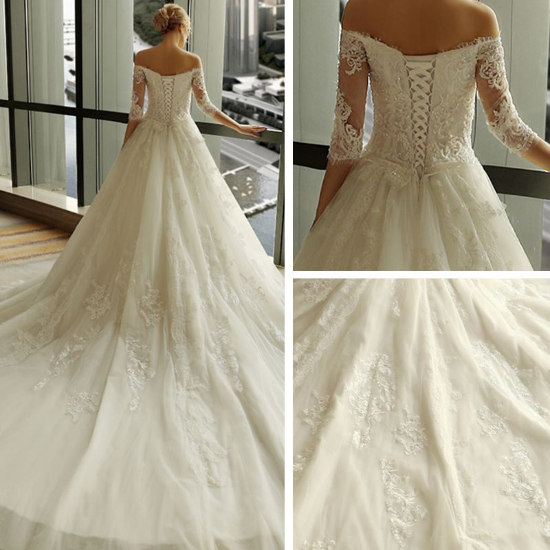 Luxury / Gorgeous Church Wedding Dresses 2017 Lace Appliques Pearl Tassel Off-The-Shoulder 3/4 Sleeve Backless Royal Train Ivory Ball Gown