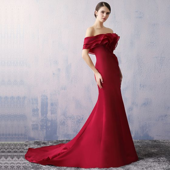 Chic / Beautiful Burgundy Evening Dresses  2017 Trumpet / Mermaid Lace Heart-shaped Backless Charmeuse Strapless Evening Party Formal Dresses