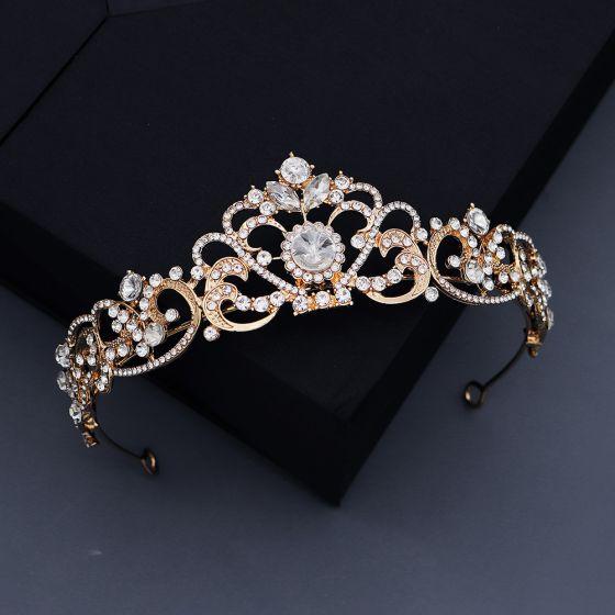 Vintage / Retro Gold Tiara 2020 Metal Wedding Bridal Hair Accessories