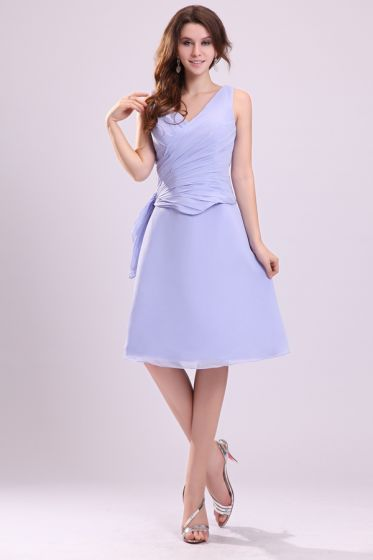 2015 V-neck Pleated A-line Short Bridesmaid Dresses