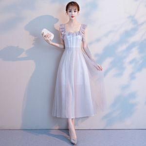 Modest / Simple Grey Homecoming Graduation Dresses 2018 A-Line / Princess Square Neckline Sleeveless Tea-length Ruffle Backless Formal Dresses