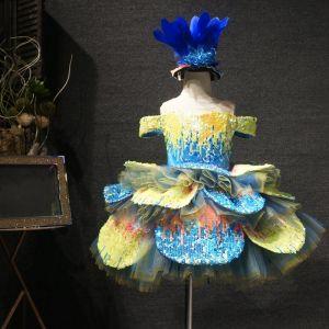 Fée Des Fleurs Jaune Bleu Anniversaire Robe Ceremonie Fille 2020 Robe Boule Transparentes Encolure Dégagée Manches Courtes Paillettes Courte Volants en Cascade Robe Pour Mariage