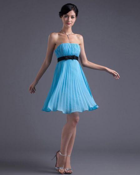 Mode Mousseline De Soie Sans Bretelles Cuisse Longueur Petite Robe De Fete Plissee