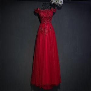 Piękne Czerwone Sukienki Wizytowe Sukienki Wieczorowe 2017 Z Koronki Kwiat Wiązane Cekiny Kwadratowy Dekolt Kótkie Rękawy Imperium