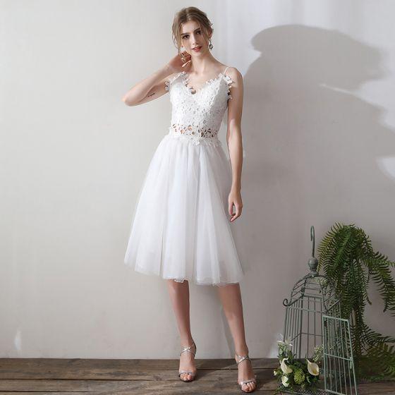 d8b9c8b32f Śliczny 2 Kawałek Krótkie Sukienki Wieczorowe 2018 Princessa Białe Tiulowe  Aplikacje Bez Pleców Przebili Homecoming Sukienki Wizytowe