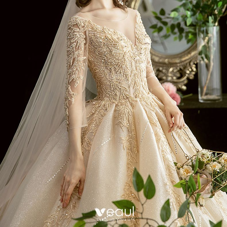 See Through Wedding Gown: Chic / Beautiful Champagne See-through Wedding Dresses