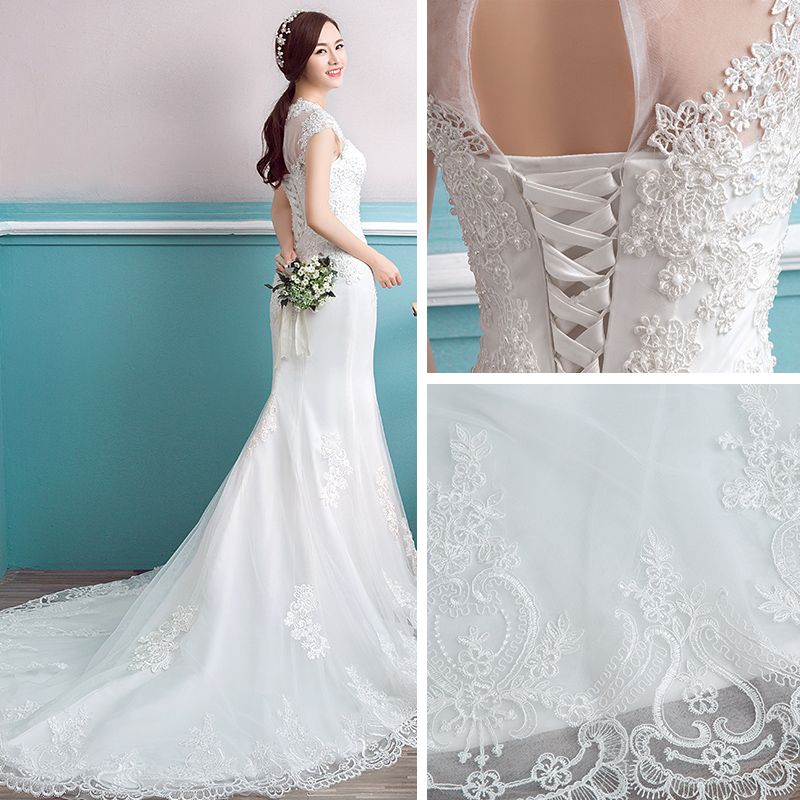 Affordable Wedding Dresses 2017 White Trumpet / Mermaid Scoop Neck Sleeveless Backless Chapel Train Pearl Lace Appliques