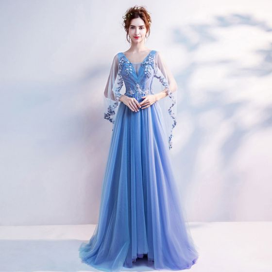 Chic / Beautiful Sky Blue Prom Dresses 2017 A-Line / Princess Tulle V-Neck  Appliques Backless Beading Prom Formal Dresses