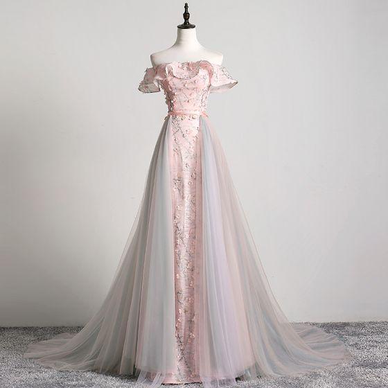 Charming Blushing Pink Evening Dresses  2019 A-Line / Princess Off-The-Shoulder Appliques Lace Flower Sash Short Sleeve Backless Court Train Formal Dresses