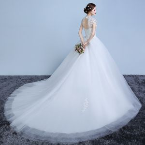 Elegant White Wedding Dresses 2019 Ball Gown Lace Flower Pearl Sequins High Neck Short Sleeve Backless Cathedral Train