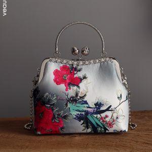 Estilo Chino Vintage Gris Cuadradas Bolsas de embrague 2020 Metal Rhinestone Impresión Flor Poliéster