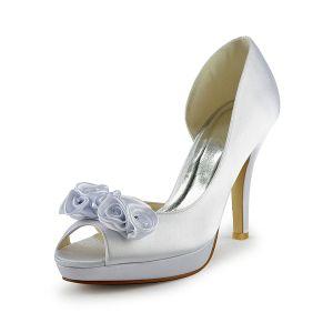 Piękne Białe Buty Ślubne Satynowe Szpilki Otwarta Strona Czółenka Z Kwiatami