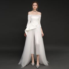 Elegant Ivory Satin Jumpsuit 2019 A-Line / Princess Off-The-Shoulder 3/4 Sleeve Appliques Lace Sweep Train Ruffle Backless Evening Dresses
