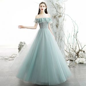 Chic / Beautiful Sky Blue Evening Dresses  2020 A-Line / Princess Off-The-Shoulder Short Sleeve Beading Glitter Tulle Floor-Length / Long Ruffle Backless Formal Dresses
