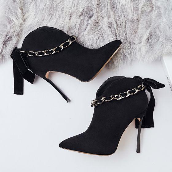 Único Negro Casual Botas de mujer 2019 Suede Bowknot 12 cm Stilettos / Tacones De Aguja Punta Estrecha Botas