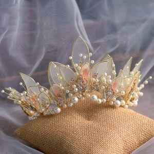Blumenfee Gold Schmetterling Haarschmuck Braut  2020 Legierung Perle Strass Diadem Hochzeit Brautaccessoires