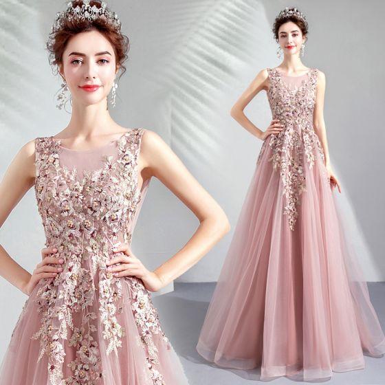Schöne Pearl Rosa Ballkleider 2019 A Linie Rundhalsausschnitt Stickerei Perle Strass Ärmellos Rückenfreies Lange Festliche Kleider