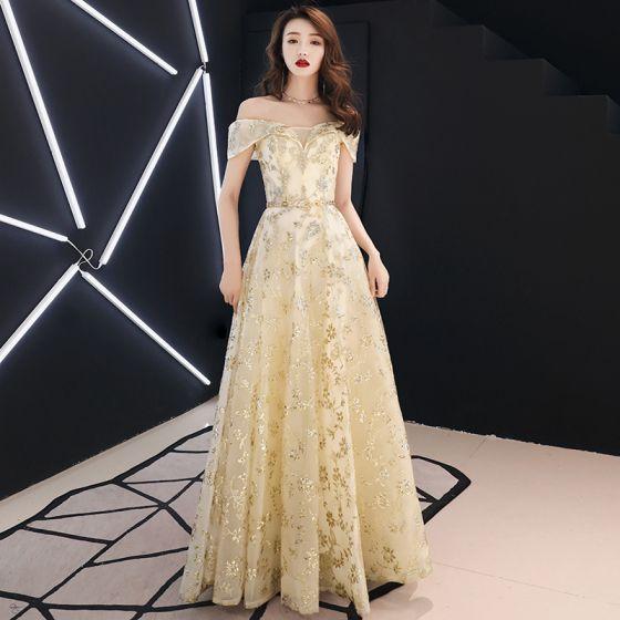 3bbc9dc2a Moda Oro Vestidos de noche 2019 A-Line   Princess Fuera Del Hombro Glitter  Lentejuelas Metal Cinturón ...